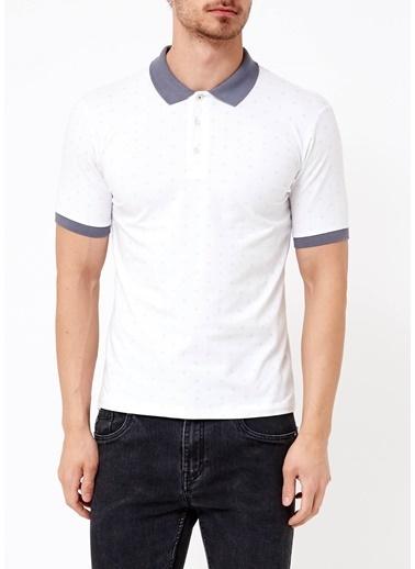 Adze Polo Yaka Tişört Beyaz